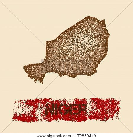 Niger Distressed Map. Grunge Patriotic Poster With Textured Country Ink Stamp And Roller Paint Mark,