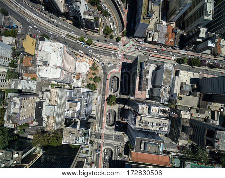 Top View of Consolacao and Paulista Avenue, Sao Paulo, Brazil