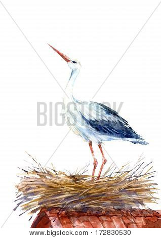 Stork on the roof in the nest. Newborn picture. Watercolor hand drawn illustration.
