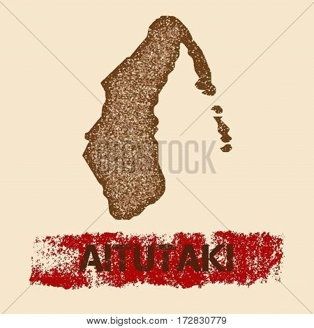 Aitutaki Distressed Map. Grunge Patriotic Poster With Textured Island Ink Stamp And Roller Paint Mar