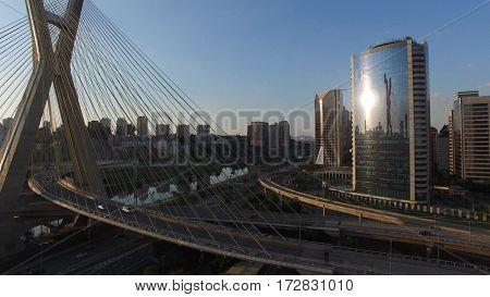 Aerial shot of the Ponte Estaiada and skyscrapers in Sao Paulo, Brazil