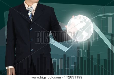 Double Exposure Of The World On Businessman Hand On Financial Graph Background, Elements By Nasa.