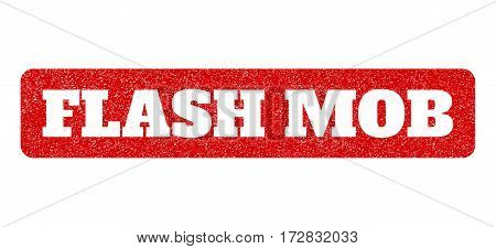 Red rubber seal stamp with Flash Mob text hole. Vector message inside rounded rectangular shape. Grunge design and unclean texture for watermark labels. Scratched emblem.