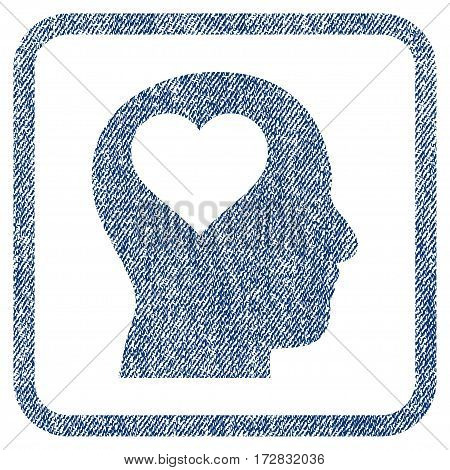 Lover Head vector textured icon for overlay watermark stamps. Blue jeans fabric vectorized texture. Symbol with scratched design inside rounded rectangle.