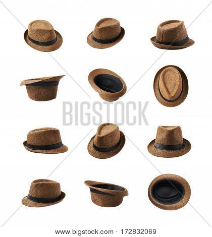 Brown fedora hat isolated over the white background, set of twelve different foreshortenings