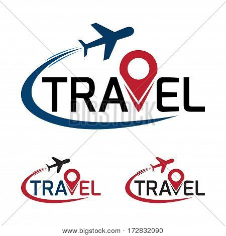 travel logo that have a plane flying around travel text. vector illustration.