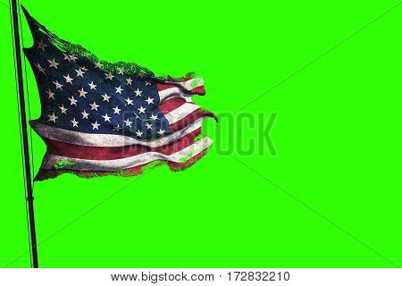 Ripped Tear Grunge Old American Usa Flag, Stars And Stripes On Chroma Key Green Screen Background