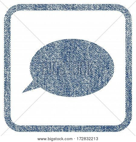 Message Cloud vector textured icon for overlay watermark stamps. Blue jeans fabric vectorized texture. Symbol with dirty design inside rounded rectangular frame.