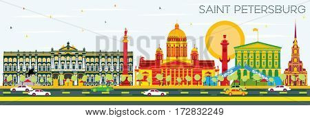 Saint Petersburg Skyline with Color Buildings and Blue Sky. Business Travel and Tourism Concept. Image for Presentation Banner Placard and Web Site.