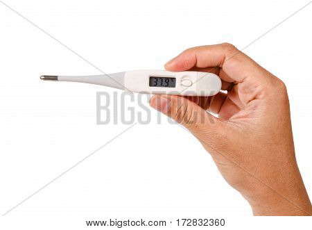Electronic thermometer in hand isolated on white background Save clipping path.