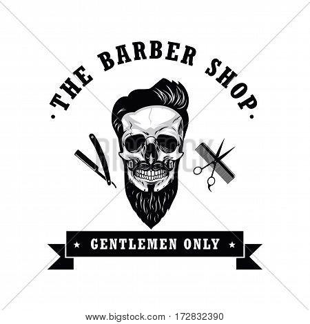 Skull Vintage Barber Shop Logo Retro Design Template Vector Illustration