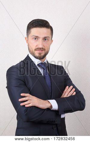 portrait of a confident business man in suit