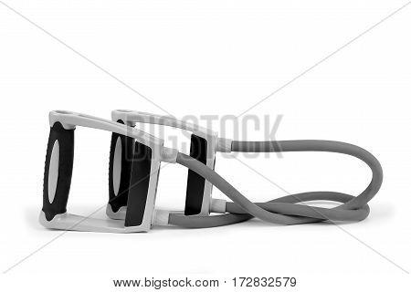 Elastic exercise band for fitness training isolated on white background.