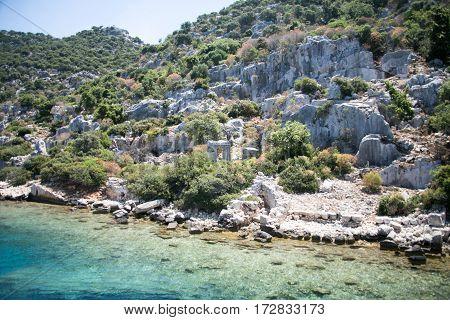 Sunken City Of Kekova In Bay Of Uchagiz View From Sea