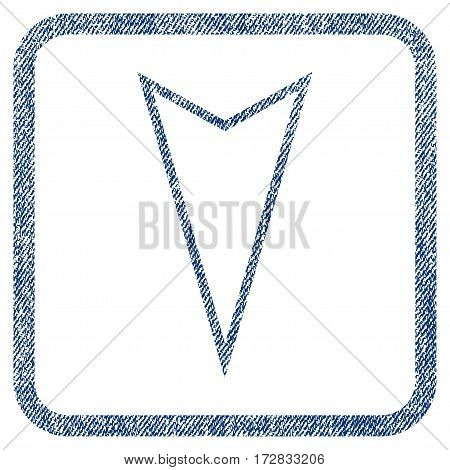 Pointer Down vector textured icon for overlay watermark stamps. Blue jeans fabric vectorized texture. Symbol with dirty design inside rounded rectangle.