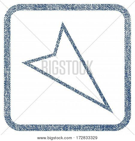 Pointer Right Down vector textured icon for overlay watermark stamps. Blue jeans fabric vectorized texture. Symbol with scratched design inside rounded rectangle.