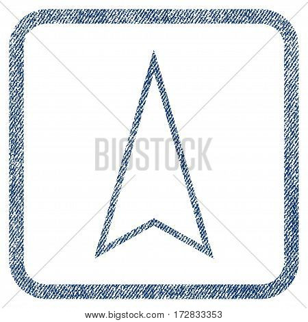 Pointer Up vector textured icon for overlay watermark stamps. Blue jeans fabric vectorized texture. Symbol with scratched design inside rounded rectangular frame.