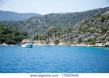 Touristic Boat Near Shores Of Sunken City Of Kekova In Uchagiz B