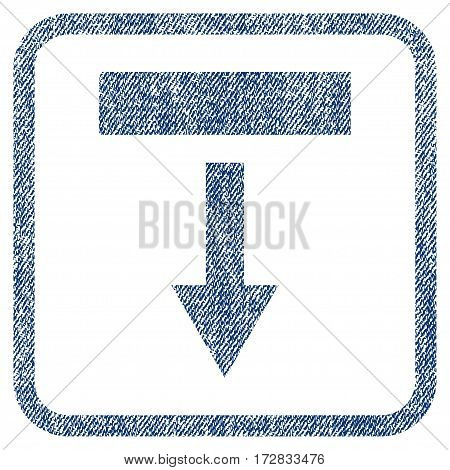 Pull Down vector textured icon for overlay watermark stamps. Blue jeans fabric vectorized texture. Symbol with unclean design inside rounded rectangular frame.