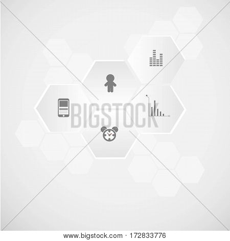 abstract infographic human beings in grey color vector illustration