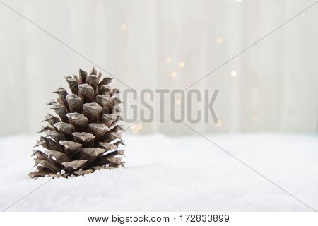 Single Pine Cone in Snow with Copy Space to Right