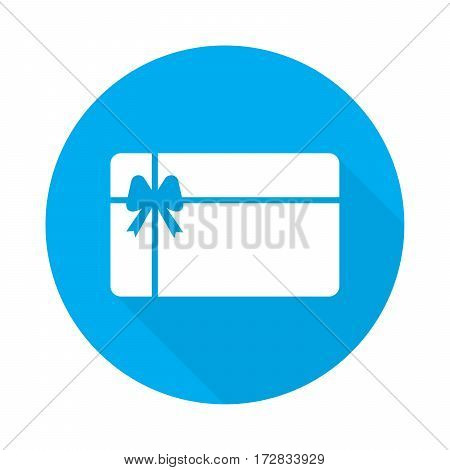 gift card vector illustration with long shadow on blue background