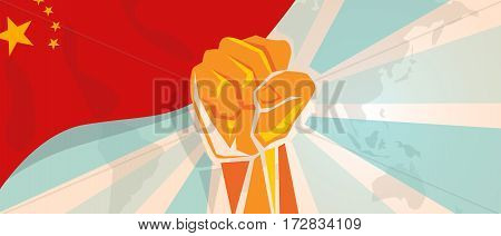 China fight and protest independence struggle rebellion show symbolic strength with hand fist illustration and flag vector