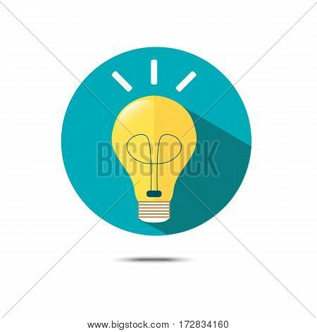 lightbulb vector icon with shadow vector illustration