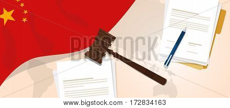 China law constitution legal judgment justice legislation trial concept using flag gavel paper and pen vector