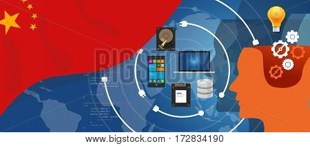 China IT information technology digital infrastructure connecting business data via internet network using computer software an electronic innovation vector