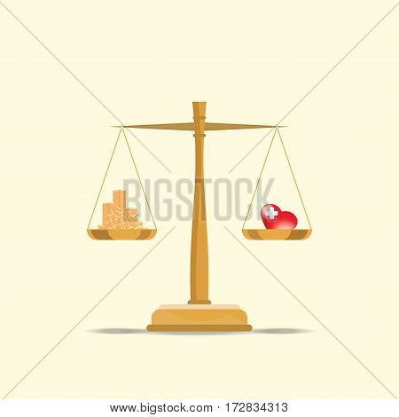 Balance your health and make money for life time with scales health and time conceptual flat design vector illustration.
