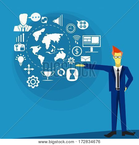 Vector business man with icons communication technology