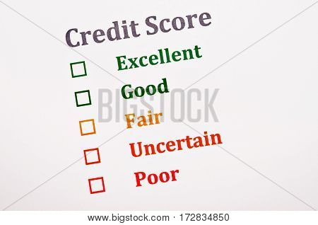 The Credit score form. Business finance concept.