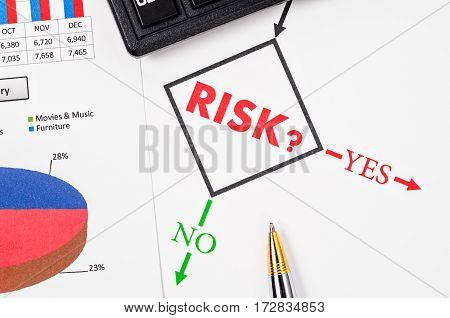 Planning the business risk with pen and flowchart at work
