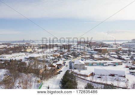 Warehouses and industry - landscape of winter snow city, wide angle
