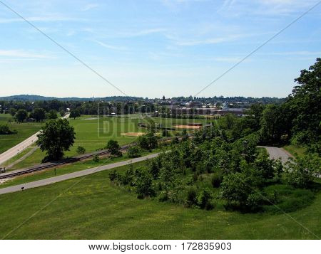 Ariel Elevated view of Getysburg, Pennsylvania, Getysburg national military park