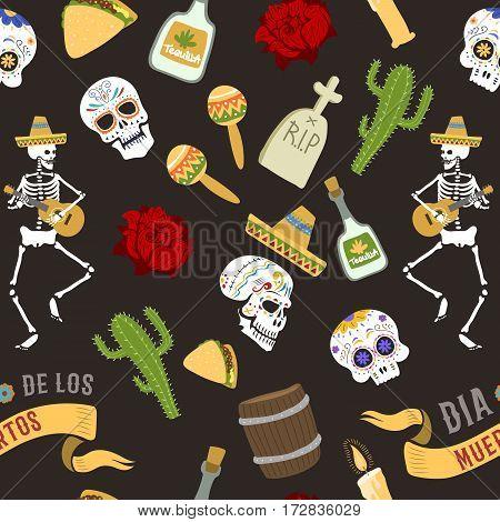 Dia de los muertos day of the dead vector seamless patetrn background