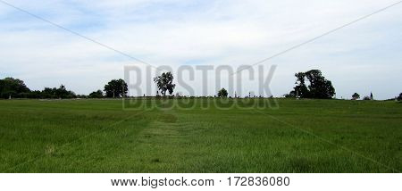 Panoramic view of the angle and the high water mark of the confederacy on Cemetery Ridge, Getysburg national military park, Getysburg Pennsylvania