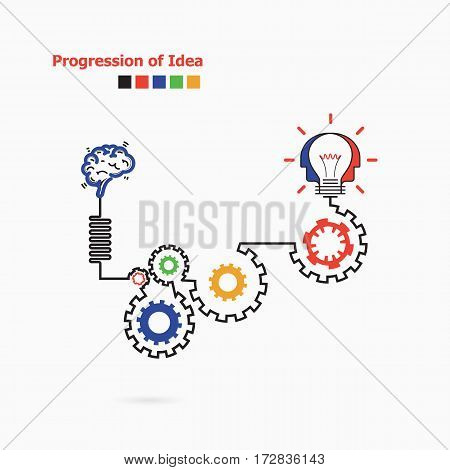 Creative light bulb symbol with linear of gear shape. Progression of idea concept. Business education and industrial idea concept. Vector illustration