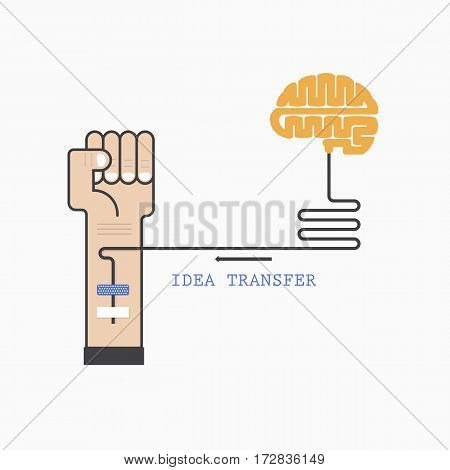 Human hand and creative brain connection. Idea and knowledge transfer concept. Business and industrial education idea concept. Vector illustration