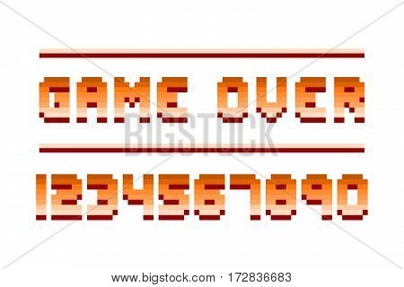 Pixel retro font video computer game design 8 bit letters and numbers electronic futuristic style. Vector abc typeface digital creative numbers.