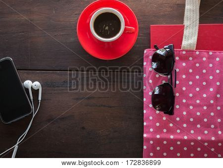 Espresso coffee on wooden table stock photo
