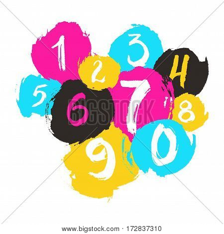 Ink grunge texture numbers from 0 to 9 on white background. Brush painted numbers with rough edges. Design element for interior poster.