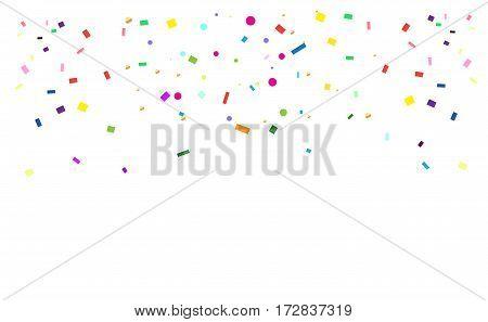Bright Confetti festive background. Colorful confetti on white background. Vector illustration.