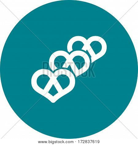 Pretzel, soft, food icon vector image. Can also be used for european cuisine. Suitable for mobile apps, web apps and print media.