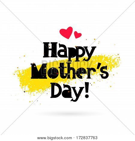 Happy Mother Day. lettering. Vector illustration on white background with gold smear of ink. Great holiday gift card.