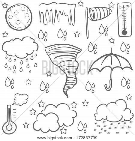 Doodle of weather with cloud rain umbrella vector art