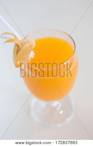 Fresh orange juice in goblet glass for good health