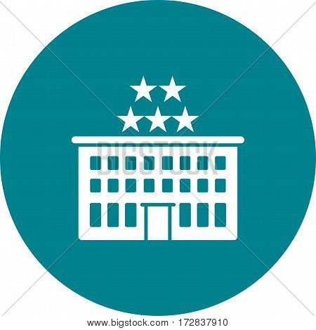 Hotel, star, five icon vector image. Can also be used for town. Suitable for mobile apps, web apps and print media.