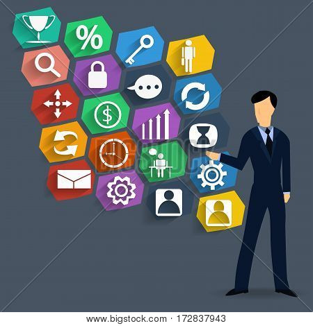 Business icons and businessman Idea and Concept Vector illustration